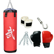 """39"""" Heavy EMPTY Hanging Punching Bag Kit Boxing MMA Training Gloves and Wraps"""