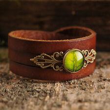 Green leaf brown bracelet leather antique brass glass dome stackable handmade