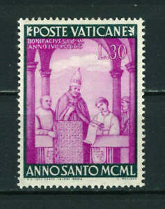 Vatican 1949 The Holy Year 30L purple/green stamp. Mint. Sg 157