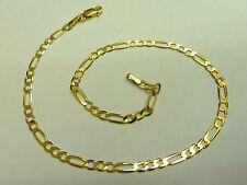 - 25cm long - Gift Boxed - Hallmarked 9ct Solid Gold Figaro Anklet - 2.3 grams
