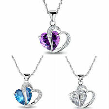 Fashion Women's Silver Heart Necklace Pendant Necklace Christmas Gift Party UK
