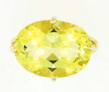9ct Yellow Gold Peridot (10.26ct) Solitaire & /Diamond Accents Ring (Size N 1/2)