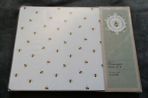 New Botanical Discovery Bumble Bee Bees White Placemats Set Of 4 Cork Backed
