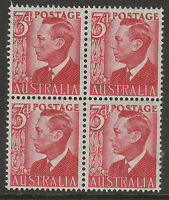 "1951 - 3d KGVI - BW251Aa - ""THIN PAPER"" - BLOCK OF FOUR - MUH"