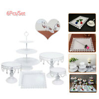 6pcs Set Crystal & Metal Cake Holder Cupcake Dessert Stand Wedding Party Plates