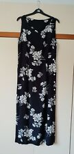 Ladies Black And White Floral Printed Design Maxi Dress Sleeveless size 12/14