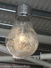 Giant ampoule lampe de plafond argent chromé moderne funky metal wire light
