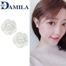 925 Sterling Silver Mother of Pearl Camellia Flower Stud Earrings Women 6mm A40