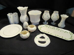Lot of 12 BELLEEK Vases, Cache Pot, Castle, Platter, Plate, Cream/Sugar, etc.