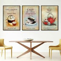 Canvas Painting Poster Vintage Coffee Dessert Abstract Home Kitchen Wall Arts
