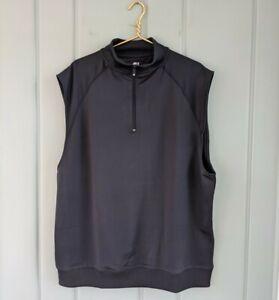 FootJoy Mens XL Half Zip Golf Vest Black Performance Sleeveless 1/4 Quarter Mock
