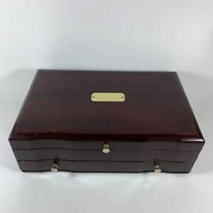 Vintage Reed & Barton Eureka Wooden Jewelry Box Chest, Cherry Mahogany
