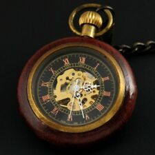Antique Wood&Bronze Steampunk Mechanical Pocket Watch Retro Hand Winding Watches