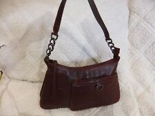 "LATICO Burgundy Red Leather Hobo Shoulder Handbag, 12"" x 7"""