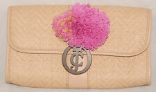 JUICY COUTURE - Sandy Brown - Leather Trimmed STRAW CLUTCH Purse *New w/ Tags!