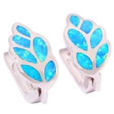 Blue Fire Opal Silver for Women Fashion Jewelry Gemstone Clip Earrings OH2406