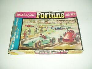 Rare Vintage Waddingtons Fortune Jig-saw Puzzle Motor Racing.