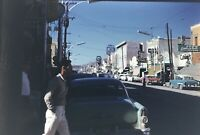 Main Street Juarez Mexico 35mm Slide 1960's Scene View Classic Cars Vtg