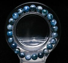 8mm Natural Blue Kyanite Crystal Cat Eye Beads Stretch Bracelet AAA