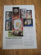 1973 VINTAGE PRINT BEER AD FOR COLT 45 ORDER FORM FOR ITEMS LIKE TIFFANY LAMP ++