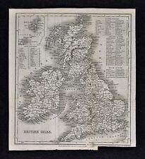 c 1824 Hall Map - British Isles - Great Britain & Ireland England Wales Scotland