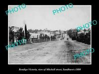 OLD LARGE HISTORIC PHOTO OF BENDIGO VICTORIA, VIEW OF MITCHELL STREET c1880