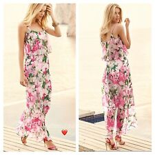 Kaleidoscope Sz 18 Simply Fab Pink Floral frill Chiffon Occasion MAXI DRESS £55