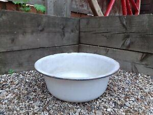Vintage Large Enamel Bowl White With Blue Rim