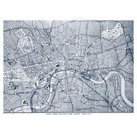 London City England Navy Map XL Wall Art Canvas Print