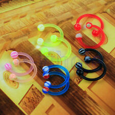 10x 16G Arcylic Horseshoe Barbell Labret Nose Lip Eyebrow Ear Ring DT