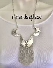 NWT LUCKY BRAND Silver-Tone Fringe Openwork Statement Necklace JLRY5684