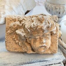 ~ Vintage Cottage Garden Concrete Cement Angel Putti Cherub Chippy Worn Patina ~