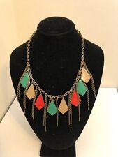 "Vintage 70s Dangling Disco Gold Color Enamel Diamond Charms Chain Necklace 21.5"""