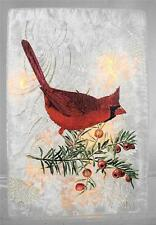 Red Cardinal Bird Luminary Electric Glass Lighted Jar Container Holiday TableTop