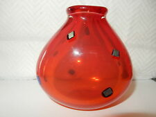 Sharon Fujimoto Hand Blown Art Glass Vase Red Glass Signed