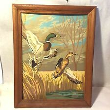 Vtg Framed PBN Oil Painting Pair Flying Mallard Ducks Trees Hunting Winter/Fall