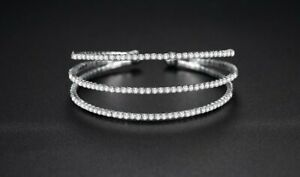 Crystal Open Ended Three Row Bangle - New In Gift Box