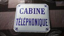 Belle Plaque émaillée bombée ancienne cabine telephonique email japy 40cm TTB