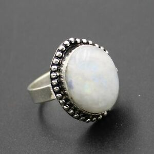 925 Sterling Silver Plated Rainbow Moonstone Ring Size 8.25 US Jewelry RJ176-62