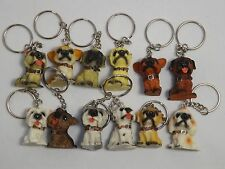 12 Dog Puppy Keyrings Keychains PARTY BAG TOYS, GIFTS, FAVOURS