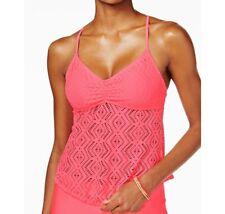 Hula Honey coral pink Crochet Tankini Top size M