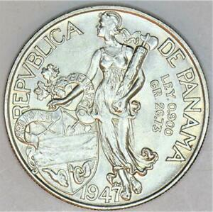 1947 Panama Silver 1 Balboa; Uncirculated