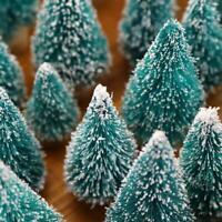 12-Piece Mini Christmas Tree Sisal Silk Cedar Decoration Green White Mini Tree