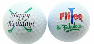 1 Dozen Happy Birthday Fiftee and Fabulous Logo Mint Bridgestone E6 Golf Balls