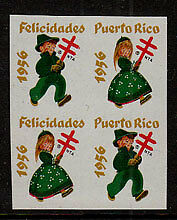 Puerto Rico Christmas Seals 1956 Imperf Block