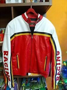Raro giubbotto giacca in vera pelle Lavorazione Artigian Racing motociclista