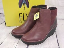 NIB - Fly London Leather Ankle Boots - Yavo - Burgundy Red - EU 39 M US 8-8.5