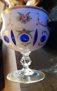 Vintage Vase bohemian czech art glass white Overlay Cut To Blue Glass. MOSER