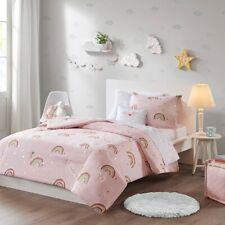 Rainbows & Unicorns Metallic Stars Girls Twin Comforter Set (6 Piece Bedding)