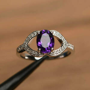 2Ct Oval Cut Amethyst Twisted Solitaire Engagement Ring in 14K White Gold Finish